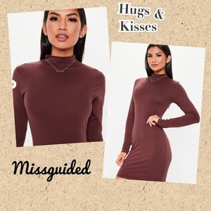 (Q) MISSGUIDED▪️Brown Long Sleeve Bodycon Dress